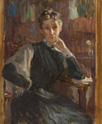 STEPHEN SEYMOUR THOMAS (American, 1868-1956) Portrait of a Woman Oil on canvas 16 x 13 inches (40