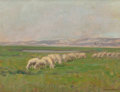 Fine Art - Painting, American:Modern  (1900 1949)  , STEPHEN SEYMOUR THOMAS (American, 1868-1956). Sheep Grazing in aGreen Valley, France, circa 1900. Oil on panel. 10-1/2 ...