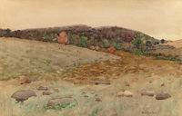 BEN FOSTER (American, 1852-1926) Davenport Countryside Watercolor on paper 13-3/4 x 21-1/2 inches