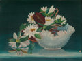 Fine Art - Painting, American:Antique  (Pre 1900), AMERICAN SCHOOL (19th Century). Still Life with WaterLilies. Oil on canvas. 16 x 22 inches (40.6 x 55.9 cm).Inscribed ...