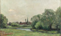Fine Art - Painting, American:Antique  (Pre 1900), GUSTAVE ADOLPH HOFFMAN (German, 1869-1945). Creek Bed withDistant Steeple, 1894. Oil on canvas. 12 x 20 inches (30.5 x...
