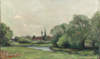 GUSTAVE ADOLPH HOFFMAN (German, 1869-1945) Creek Bed with Distant Steeple, 1894 Oil on canvas 12