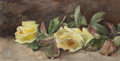 Fine Art - Work on Paper:Watercolor, FREDERICK STUART CHURCH (American, 1842-1924). Still Life withYellow Roses, 1891. Watercolor on paper. 5-3/8 x 10-5/8 i...