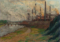 FREDERICK J. PITTNER (American, 19th/20th Centuries) Industrial View, 1909 Oil on canvas laid on boa