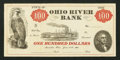 Obsoletes By State:Ohio, Marietta, OH- The Ohio River Bank $100 June 15, 1838 Wolka 1561-04....