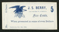 Obsoletes By State:Ohio, Greenwich, OH- J.S. Berry 5¢ Dec. 6, 1862 Remainder Wolka 1230-01....