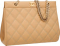"Luxury Accessories:Bags, Chanel Beige Quilted Leather Shoulder Bag with Jewel Chain Strap .Excellent Condition . 11"" Width x 9"" Height x 4""De..."