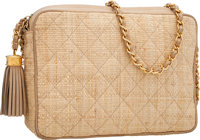 "Chanel Natural Quilted Raffia Camera Bag with Tassel Good to Very Good Condition 9"" Width x 6.5"""