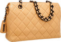 Luxury Accessories:Bags, Chanel Beige Quilted Lambskin Leather Shoulder Bag with BlackHardware . ...