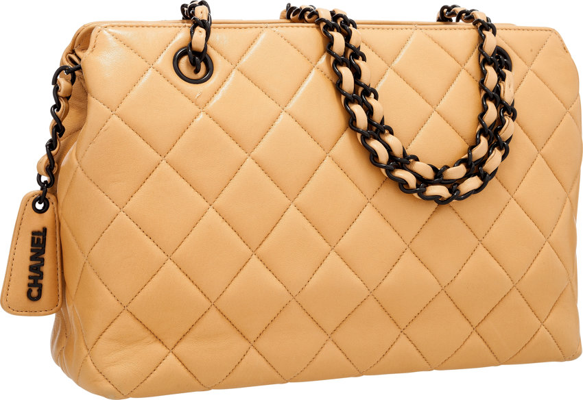 103e288189f035 Luxury Accessories:Bags, Chanel Beige Quilted Lambskin Leather Shoulder Bag  with BlackHardware .
