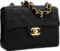 "Luxury Accessories:Bags, Chanel Black Quilted Satin Mini Flap Bag with Gold Hardware.Very Good to Excellent Condition .  7"" Width x 5"" Height..."
