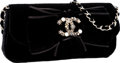 "Luxury Accessories:Bags, Chanel Limited Edition Black Velvet Evening Bag with Jeweled CC.Excellent Condition . 10"" Width x 6"" Height x 1.5""De..."