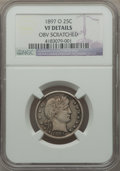 Barber Quarters, 1897-O 25C -- Obverse Scratched -- NGC Details. VF. NGC Census: (3/76). PCGS Population (10/127). Mintage: 1,414,800. Numis...