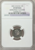 Coins of Hawaii, 1883 10C Hawaii Ten Cents -- Improperly Cleaned -- NGC Details. XF.NGC Census: (41/294). PCGS Population (78/419). Mintage...
