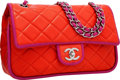 Luxury Accessories:Bags, Chanel Coral & Fuchsia Quilted Lambskin Leather Double Flap Bagwith Silver Hardware. Very Good to Excellent Condition...