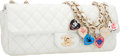 Luxury Accessories:Bags, Chanel Limited Edition White Quilted Lambskin Leather East WestFlap Bag with Valentine Chain Strap. Very Good Condition ...