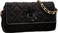 Chanel Black Quilted Satin Evening Bag with Sequin Camellia Flower