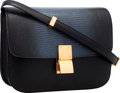 "Luxury Accessories:Bags, Celine Slate Blue Lizard & Black Leather Classic Box Bag withGold Hardware. Very Good to Excellent Condition. 9.5""Wi..."
