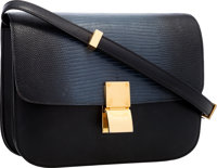 Celine Slate Blue Lizard & Black Leather Classic Box Bag with Gold Hardware Very Good to Excellent Condition