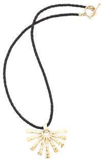 Gold Pendant, Leather Necklace, James Avery