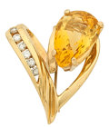 Estate Jewelry:Brooches - Pins, Citrine, Diamond, Gold Brooch. ...