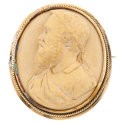 Estate Jewelry:Brooches - Pins, Victorian Lava Cameo, Gold Brooch. ...