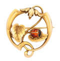 Art Glass:Daum, Enamel, Gold Brooch. ...