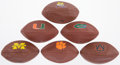Football Collectibles:Balls, Official Size Wilson College Logo Footballs Lot of 6....