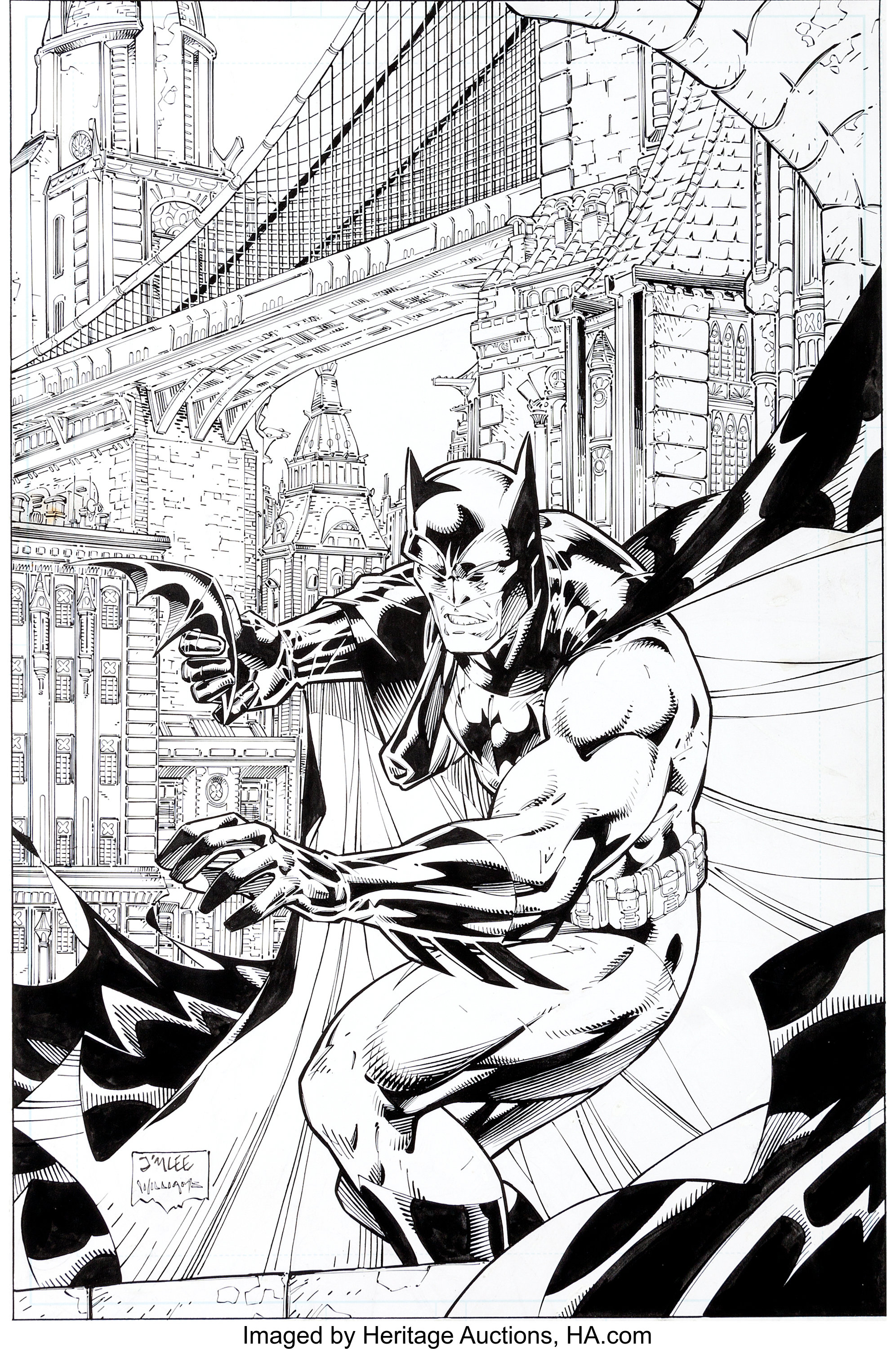 Jim lee and scott williams batman black and white 1 cover original lot 92203 heritage auctions