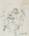 Original Comic Art:Sketches, Jack Kirby - Captain America Sketch Original Art (1964)....