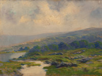 HENRY HAMMOND GALLISON (American, 1850-1910) Expansive Mountain Landscape with Misty Pools Oil on ca