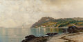 Fine Art - Painting, American:Antique  (Pre 1900), KANUTE EDWIN FELIX (Swedish/American, 1852-1935). QuietAfternoon Coastline. Oil on canvas. 18 x 36 inches (45.7 x 91.4...