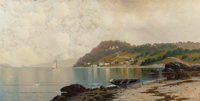 KANUTE EDWIN FELIX (Swedish/American, 1852-1935) Quiet Afternoon Coastline Oil on canvas 18 x 36