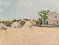 Fine Art - Painting, American:Modern  (1900 1949)  , AMERICAN SCHOOL (20th Century). View from a Field with Haystacksin France and Landscape with Lone Tree (double-side...