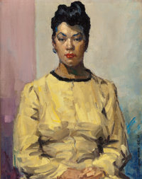 DAVID WU JECT-KEY (American, 1890-1968) Portrait of a Woman in Yellow Oil on canvasboard 18 x 14
