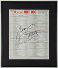 """Miscellaneous Collectibles:General, Janet Jackson Signed """"Billboard Hot 100"""" List...."""