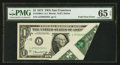 Error Notes:Foldovers, Fr. 1908-L $1 1974 Federal Reserve Note. PMG Gem Uncirculated 65 EPQ.. ...