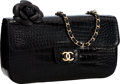 "Luxury Accessories:Bags, Chanel Black Crocodile Mini Flap Bag with Camellia Flower &Gold Hardware. Very Good to Excellent Condition . 7.5""Wid..."