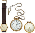 Timepieces:Other , A Lot Of Two Pocket Watches & One Wristwatch. ... (Total: 3 Items)