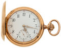 Timepieces:Pocket (pre 1900) , Swiss 52 mm 14k Gold Hunters Case, circa 1895. ...