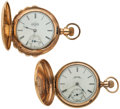 Timepieces:Pocket (post 1900), Two Elgin Pocket Watches One Is 10k Gold Runners. ... (Total: 2Items)