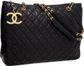 Luxury Accessories:Bags, Chanel Black Quilted Lambskin Leather Tote Bag with Gold Hardware....