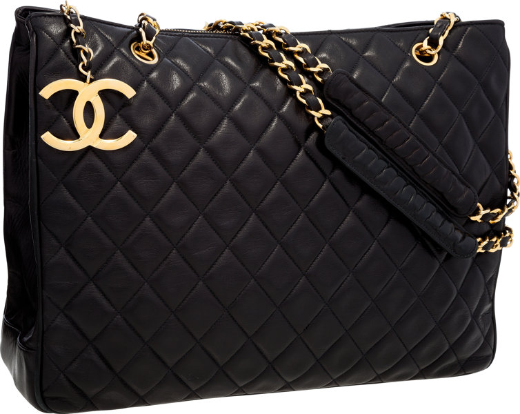 b360968c81f7 Chanel Black Quilted Lambskin Leather Tote Bag with Gold