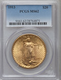 Saint-Gaudens Double Eagles: , 1913 $20 MS62 PCGS. PCGS Population (883/1035). NGC Census:(1040/473). Mintage: 168,700. Numismedia Wsl. Price for problem...