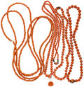 Estate Jewelry:Necklaces, Lot of Coral, Gold, Gold-Filled Necklaces . ... (Total: 4 Items)