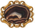 Estate Jewelry:Brooches - Pins, Agate, Gold-Plated Brooch. ...