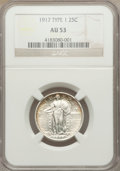 Standing Liberty Quarters: , 1917 25C Type One AU53 NGC. NGC Census: (53/1435). PCGS Population (83/2120). Mintage: 8,740,000. Numismedia Wsl. Price for...
