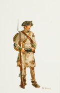 "Military & Patriotic:Revolutionary War, Don Troiani, Artist: Original Signed Watercolor Illustration ""APrivate of the 71st Regiment of Foot, 1781""...."