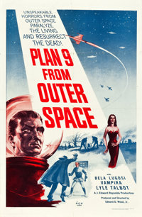 """Plan 9 from Outer Space (DCA, 1958). One Sheet (27"""" X 41"""") Blue Style"""