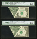 Error Notes:Foldovers, Fr. 1909-K $1 1977 Federal Reserve Notes. Two Examples. PMG About Uncirculated 50.. ... (Total: 2 notes)